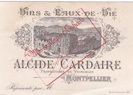 """34  MONTPELLIER  CALENDRIER  :  PUBLICITE   VINS & EAUX  DE  VIE  """"  ALCIDE  CARDAIRE  """"  . - Calendari"""