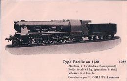Train Miniature, Loco Type Pacific Au 1/20 Construite Par E. Golliez Lausanne (1937) - Jeux Et Jouets
