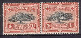 """Early Tonga 1897 1d Pair MNH Normal + Variety """"lopped Branch"""" - Cat £175.00 With Turtle W/m - Tonga (1970-...)"""