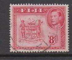 Fiji SG 261c 1938-55  King George VI 8d Carmine,used - Fiji (1970-...)
