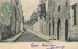 """CPA GRECE """"Rhôdes, Rue Des Chevaliers"""" / OBLITERATION SMYRNE 1908 - Greece"""
