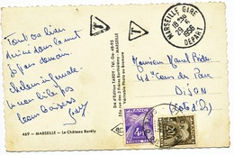 BOUCHES DU RHONE CP 1956 MARSEILLE GARE DEPART TAXE A DIJON COTE D'OR - Marcophilie (Lettres)