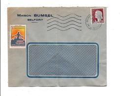 OBLITERATION MECANIQUE DE BELFORT ENTREPOT  1960  VIGNETTE ERINNOPHILE - Marcofilie (Brieven)
