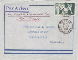 """5-3-1948- Enveloppe Par Avion De Cognac Affr. 40 F Pour Le Venezuela """" Par Liaison Commémorative Air-France - Luftpost"""