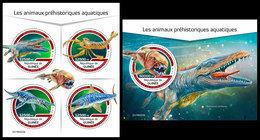 GUINEA 2019 - Water Prehistorics. M/S + S/S. Official Issue [GU190223] - Préhistoriques