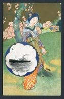 "C1912-20 COLOURED POSTCARD N.Y.K LINE JAPAN -- ""KASHIMA MARU"" IN VIGNETTE WITH JAPANESE GIRL - Piroscafi"