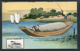 "C1912-20 COLOURED PC N Y K LINE JAPAN ""SHIZUOKA MARU"" IN VIGNETTE WITH FERRY BOAT -- 1912-33 (WRECKED) - Piroscafi"