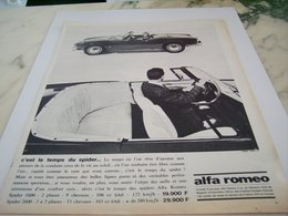 ANCIENNE PUBLICITE C EST LE TEMPS DU SPIDER  ALFA ROMEO 1964 - Voitures