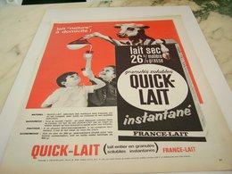 ANCIENNE PUBLICITE QUICK LAIT DE FRANCE LAIT 1964 - Affiches