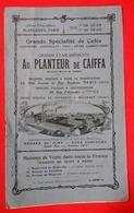 1921 Rare Brochure Publicité Au Planteur De Caïffa  Café Tarifs & Produits 13.5 X 22 Cms 8 Pages Catalogue Bleu - Publicités