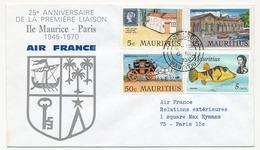 MAURICE - Enveloppe 25eme Anniversaire De La Première Liaison Ile Maurice- Paris - 1970 - Maurice (1968-...)