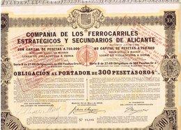 Titre Ancien - Compañia De Los Ferrocarriles Estratégicos Y Secundarios De Alicante - Titre De 1913 Obligcion - Chemin De Fer & Tramway