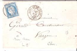 25c.Céres Oblitéré Bureau De Passe 4201 (VIERZON) à Coté GARE DE BOURGES Dateur Type 17 - Poste Ferroviaire
