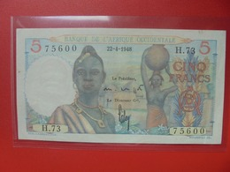 AFRIQUE OCCIDENTALE 5 FRANCS 1948 TRES PEU CIRCULER BELLE QUALITE (B.6) - West-Afrikaanse Staten