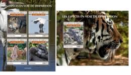 Djibouti 2019 Endangered Species Monkey Gorilla Wild Cat Birds Wolf MS+S/S DJB190404a - Celebridades