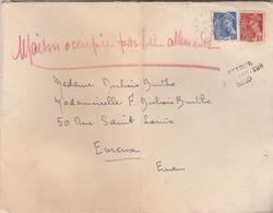 """Lettre Pour Evreux Avec """"Retour/ à L'Envoyeur / 8830 """" Mention """" Maison Occupée Par Les Allemands"""". - Marcophilie (Lettres)"""