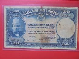 ALBANIE 20 FRANKA ARI 1926 CIRCULER  (B.6) - Albanië