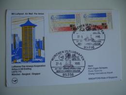 Lot 4 Lettre 1 Ere Liaison 1 Er Vol  Bogota Caracas Baku Bangkok Singapour - Aviones
