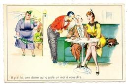 FORMAT CPA       HUMOUR  COUPLE MARIAGE   -   IL Y A UNE DAME QUI A UN MOT A VOUS DIRE   -  GROSSE FEMME EN COLERE - Contemporánea (desde 1950)