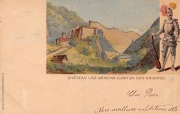 Château Les Grisons (Canton Des Grisons) - Avec Paillettes - Litho - GR Grisons