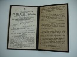 Don Luis De Leon Y Cataumber Espagne  Faire  Part Deces  Image Pieuse Religieuse  Holly Card - Avvisi Di Necrologio