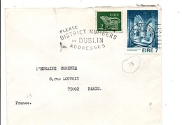 IRLANDE AFFRANCHISSEMENT COMPOSE SUR LETTRE DE NAS NA RIOGH POUR LA FRANCE 1975 - 1949-... Republic Of Ireland