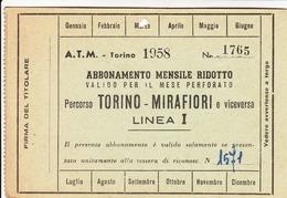 A.T.M. TRAM TRAMWAYS MUNICIPALI TORINO - TESSERA BIGLIETTO TICKET DI ABBONAMENTO 1958 - Abbonamenti