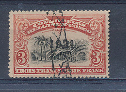 BELGIAN CONGO 1910 ISSUE COB 61 USED LINEAR MARK AT THE ARRIVAL IN BRUSSELS - Belgisch-Kongo