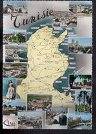 REF 403 : CPSM Carte Géographique Contour De Pays Tunisie - Cartes Géographiques