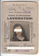 TRAM TRAMWAYS TRANVIE INTERCOMUNALI TORINO - TESSERA BIGLIETTO TICKET SETTIMANALE 1949 - Abbonamenti