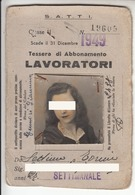 TRAM TRAMWAYS TRANVIE INTERCOMUNALI TORINO - TESSERA BIGLIETTO TICKET SETTIMANALE 1949 - Europa