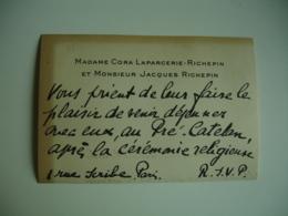 Invitation  Manuscrite Pour Mariage  Cora Laparcerie Richepin Et Jacques Richepin - Announcements