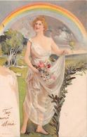 Femme Avec Arc En Ciel Et Fleurs - 1902 - Donne