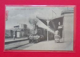 Gerona Cartalunya RARO 1918 Estacion De MZA Locomotora Ferrocarril  N°4 Dos Scanné - Gerona