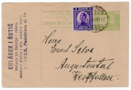1922 YUGOSLAVIA, CROATIA, ZAGREB TO AUGUSTENTHAL, GERMANY, CHLADEK I SUTIC, STATIONERY CARD, USED - Postal Stationery