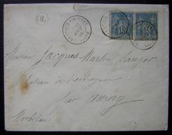 La Ferté-Loupière (Yonne) 1884 Lettre Avec Cachet OL Pointillé Pour Le Château De Kerdroguen Par Auray (Blason) - Marcofilia (sobres)