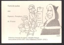 REF 403 : CPM Politique Mitterrand Pompier Sapeurs Pompiers Carte De Soutien - Feuerwehr