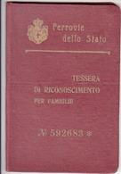 FERROVIE DELLO STATO TESSERA DI RICONOSCIMENTO PER FAMIGLIE 1924 - Week-en Maandabonnementen