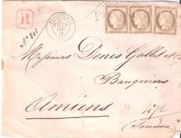 Oise :- FEUQUIERES G.C.1504 Dateur Type 17 Sur Devant Lettre Recommandée - Postmark Collection (Covers)