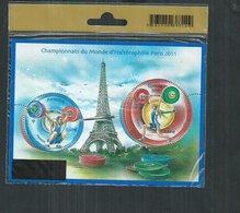 France. Bloc Feuillet**  F4598 Les Championnats Du Monde D'haltérohilie Paris 2011 - Blokken En Velletjes