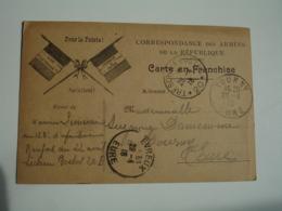 Ww 1 Carte Franchise Postale Pour La Patrie Pour La Liberte 2 Drapeaux Tresor Et Postes 20 Guerre 14.18 - Marcophilie (Lettres)