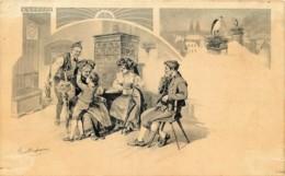 Fantaisie 4 C.P.A. - Illustr. Paul Dufresne - L'Alsace - Venise - La Cité-Paris - Moulins Hollandais - Künstlerkarten