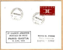 X75108 PARIS-BASTIA Corse 1ère Liaison Aérienne Postale De Nuit  15 Avril 1964 Cachet Poste LE BOURGET PORT AERIEN - Poste Aérienne