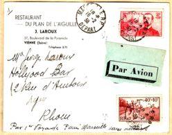 X75110 PAR AVION PARIS-MARSEILLE Sans Surtaxe 16-02-1938 De LAROUX Restaurant Plan Aiguilles 37 Bv Pyramide Vienne Isèr - Airmail