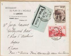 X75114 PAR AVION PARIS-MARSEILLE Sans Surtaxe 16-02-1938 De LAROUX Restaurant Plan Aiguilles 37 Bv Pyramide Vienne Isèr - Airmail
