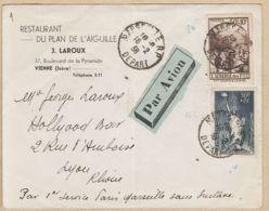 X75113 PAR AVION PARIS-MARSEILLE Sans Surtaxe 16-02-1938 De LAROUX Restaurant Plan Aiguilles 37 Bv Pyramide Vienne Isèr - 1927-1959 Lettres & Documents