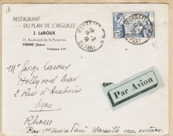 X75115 PAR AVION PARIS-MARSEILLE Sans Surtaxe 16-02-1938 De LAROUX Restaurant Plan Aiguilles 37 Bv Pyramide Vienne Isèr - 1927-1959 Lettres & Documents
