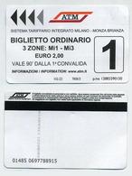 Bus Ticket. 2019. Milano Milan Italia Italie. Biglietto Ordinario ATM 3 Zones. Validity 90 Minutes - Europe