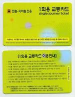 Metro Subway Underground - Single Journey Ticket. Seoul, South Korea Corée Du Sud (Sans Logos Au Dos) - Metro