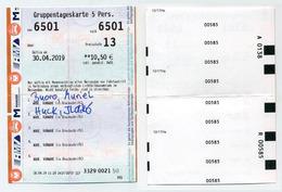 Ticket De Train Allemand Utilisé - Used German Train Day Ticket - Gruppentageskarte 5 Personnen. 2019 - Chemins De Fer